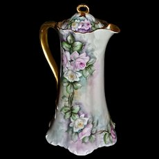 Limoges Lovely Chocolate Pot with Delicate White and Pink Cascading Roses and Familiar Gold Split Ribbon Handle