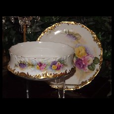 Limoges Beautiful Signed Center Bowl with Pink/Yellow Roses and Lilacs with Matching Charger/Tray