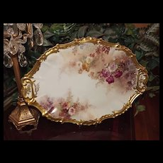Limoges Lovely Large Oval Platter/Tray with Rambling Pink/Red/White Roses and Gold Edging