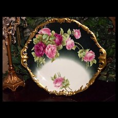 Limoges Huge Charger/Wall Plaque/Tray with Pink and Red Roses Signed Listed Artist Rozy