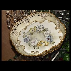 Superb Rare Limoges Pairpoint Reticulated Bowl/Tray with Hand Painted Pansies and Gold Work