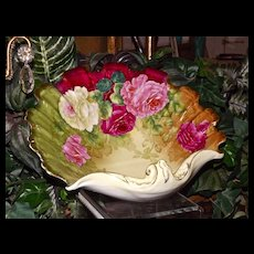 Bavaria Tirschenreuth Signed Shell Bowl with Vibrant Colors and Red/Pink/White Roses