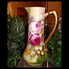 Limoges Large Rose Filled Pitcher with Vibrant Colors Signed by Artist