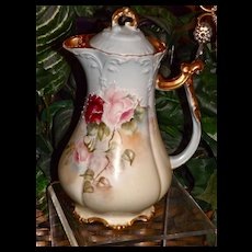 Limoges Chocolate Pot with Lovely Pink, Red and White Roses with Raised White Flourish Embellishments