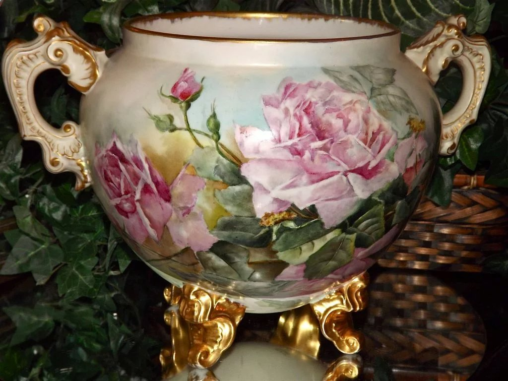 limoges monumental jardiniere with exquisite pink roses