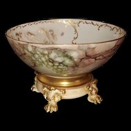 Limoges Huge Punch Bowl Grapes and Rare Nude Scenic Decor with Gold Embellishment and Matching Plinth