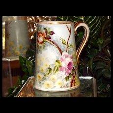 Limoges Apricot and Pink Rose Filled Mug Signed Master Artist Golse
