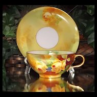 Limoges Yellow Rose Cup and Saucer Signed Master Artist A. Bronssillon