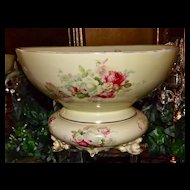 Punch Bowl and Matching Plinth/Base with Pink, Red and White Roses