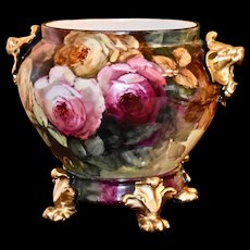 Limoges Gold Lion Handled Jardiniere Pink/Yellow/Red Roses with Decorated Matching Paw Footed Plinth