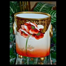 Limoges Poppy and Gold Cache Pot/Vase Signed Listed Artist Oaborne