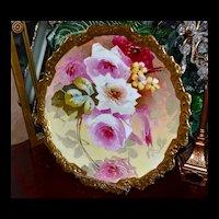 "Limoges Romantic Rose Filled Huge 15.25"" Charger with Gold Encrusted Rim"
