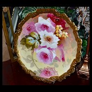 "Limoges Romantic Rose Filled Huge 15.25"" Charger with Gold Encrusted Rim"