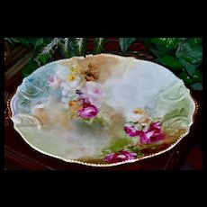 Limoges Large Gorgeous Rose Filled Platter with Beaded Detailing