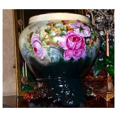 Limoges Large Jardiniere Red/Pink Romantic Roses with Ornate Scrolled Plinth