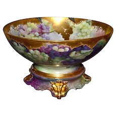 Limoges Gorgeous Punch Bowl Covered in Grapes and Heavy Gold with Matching Plinth/Base