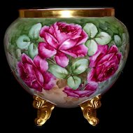 Limoges Gold Footed Signed Jardiniere with Huge Romantic Red Roses