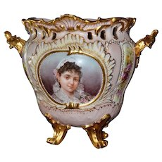 Limoges Fine Reticulated Footed Portrait Jardiniere/Vase/Planter with Roses and Raised Enamel Work