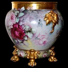 Limoges Jardiniere/Planter with Pink/Red/Yellow Roses, Gold Elephant Handles and Matching Gold Paw Footed Plinth