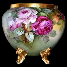 Limoges Exquisite Artist Signed Jardiniere with Pink, Red, Yellow Roses, Four Gold Feet and Gold Embellished Rim