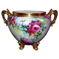Magnificent Jardiniere with Limoges Hand Painted Roses and Heavy Encrusted Gold Handles and Feet