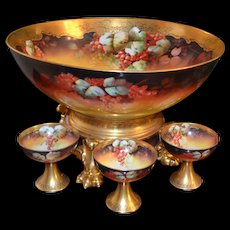 Magnificent Huge Autumn Currant Punch Bowl with Matching Gold Pawed Footed Plinth Signed Pickard Artist G. Stahl