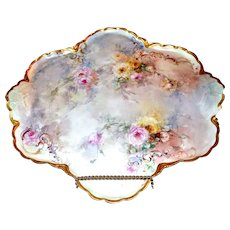 Limoges Magnificent Huge Tray/Wall Plaque Filled with Romantic Roses and Trimmed in Gold