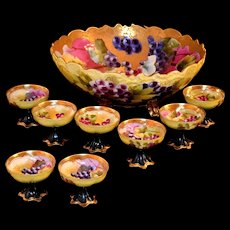 Magnificent Pickard Gold Etched Grape Filled Footed Punch Bowl and 8 Matching Cups Signed Coufall