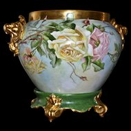 Limoges Signed Gold Elephant Handled Jardiniere with Pink and Yellow Roses and Matching Plinth