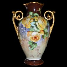 Limoges Stunning Huge Vase with Yellow Roses and Elaborate G0ld Scrolled Handles