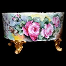 Limoges Four Gold Footed Jardiniere/Planter with Pink/Yellow and White Roses