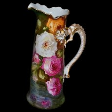 Limoges Hugh Tankard/Pitcher Covered in Pink, White, Red and Yellow Roses with Gold Feathered Serpent Handle