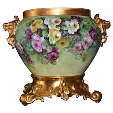 Limoges Gorgeous Lion Handled Jardiniere with Spectacular Yellow/White/Pink/Red Roses and Ornate Gold Plinth/Base