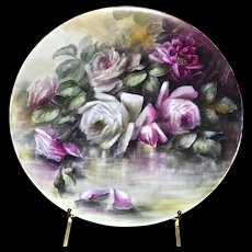 """Limoges Magnificent Hand Painted 16"""" Plaque/Charger/Tray with Pink/Red/White Roses in Reflecting Waters"""