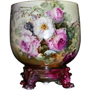 Limoges Fabulous Jardiniere Vibrant Colors with Red, Yellow, Pink and White Roses and Matching Pawed Plinth