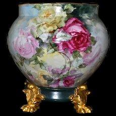 Limoges Amazing Signed Rose Filled Jardiniere/Planter/Vase with Matching Gold Pawed Plinth/Base
