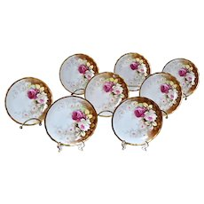 Limoges 8-Piece Signed Dessert Plate Set with Gold Borders and Hand Painted Red and White Roses