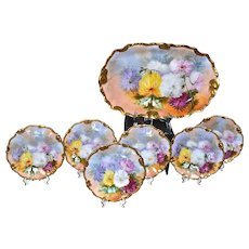 Limoges Ice Cream Set with Colorful Vibrant Mums Signed J. Morseys