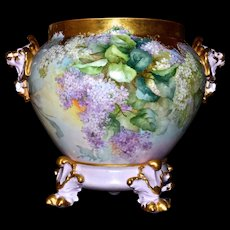 Limoges Museum Quality Lions Handled Jardiniere with Lavender and White Lilacs Heavy Gold Embellishments and a Fabulous Matching Pawed Plinth