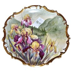 """Limoges Huge 15.5"""" Signed Plaque/Charger Hand Painted with Incredible Executed Purple and Yellow Bearded Iris"""