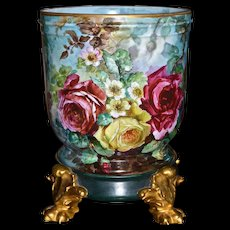 Limoges Jardiniere Covered in Gorgeous Hand Painted Roses and Wildflowers with Raised Detailing and Gold Pawed Plinth/Base