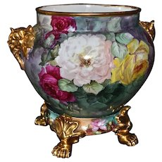 Limoges Gold Gilded Elephant Handled Jardiniere with Huge Pink, Red, White and Yellow Roses Sitting on Gold Paw Footed Rose Filled Plinth/Base