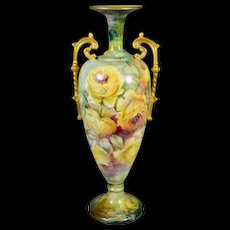 Belleek Huge Gold Handled Antique Vase Covered in Exquisite Romantic Yellow Roses