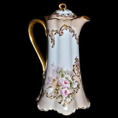Limoges Gorgeous Chocolate Pot with Wonderful Romantic Pink and Yellow Roses Against Blush and Snow White Porcelain on Ranson Mold with Split Ribbon Handle