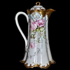 Limoges Fabulous Limoges Chocolate Pot with Romantic Pink Roses and Incredible Gold Detailing on Split Ribbon Handle