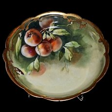Limoges Large Center Bowl with Luscious Ripe Peaches and  Heavy Gold Embellishments Signed Pickard Artist Seidel