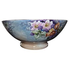 Limoges Huge Punch Bowl with Blackberries and Large Pink Flowers