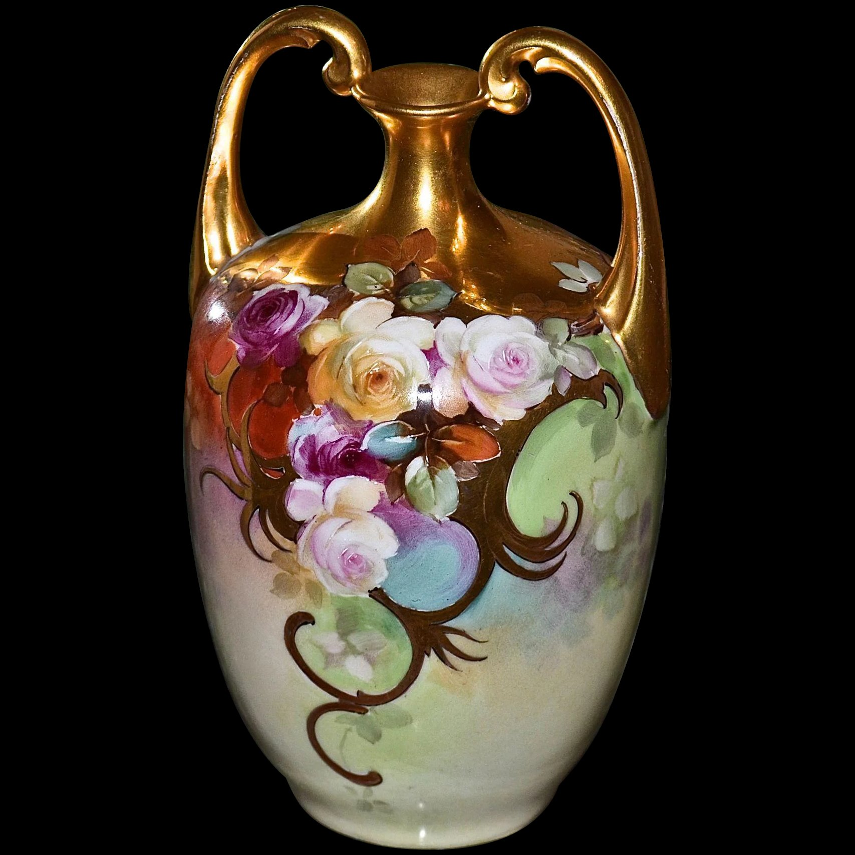 Limoges Gold Encrusted Muscle Vase Signed By Master And