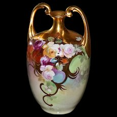 Limoges Gold Encrusted Muscle Vase Signed by Master and Listed Pickard Artist Thomas M. Jelinek