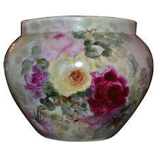 Limoges Large Jardiniere with Large Romantic Pink, Yellow and Red Roses